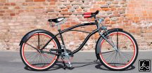 Egyedi Stray Cat Férfi Cruiser Kerékpár Fekete-Piros-Springer villával