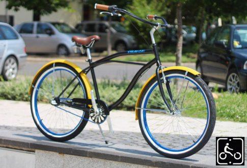 Egyedi Stray Cat Férfi Cruiser Kerékpár 1sp - Fekete-Citrom