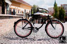 Egyedi Stray Cat Férfi Cruiser Kerékpár 1sp - Fekete-Piros Brooks nyereggel