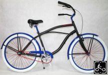 Egyedi Stray Cat Férfi Cruiser Kerékpár 1sp - Matt-fekete-kek